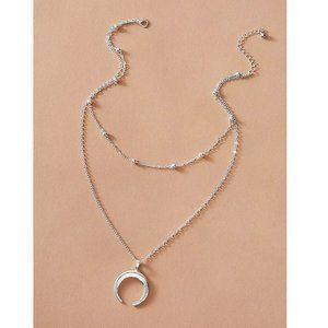 Urban Outfitters Jewelry - Layered Crescent Horn Necklace (Silver)